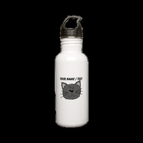 Custom Grey Cat Face Stainless Steel Water Bottle