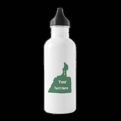 Hiking Climbing. Custom Text. Stainless Water Bott