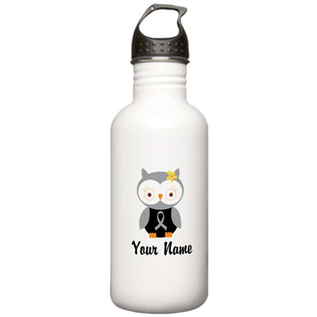 Personalized Gray Ribbon Owl Stainless Water Bottl