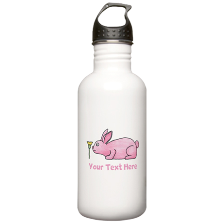 Pink Rabbit, Custom Text. Stainless Water Bottle 1