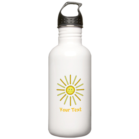 Happy Summer Sun and Text. Stainless Water Bottle