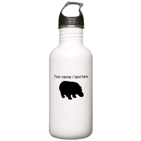Personalized Black Hippo Silhouette Water Bottle