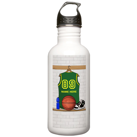 Personalized Basketball Green Stainless Water Bott