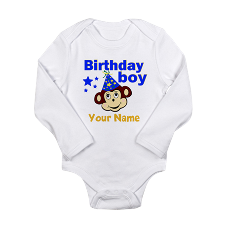 Birthday boy monkey custom Long Sleeve Infant Body