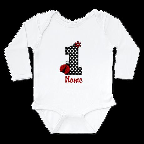 1st Birthday Ladybug Long Sleeve Infant Bodysuit