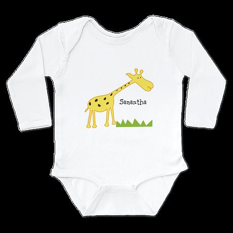 Custom Giraffe Long Sleeve Infant Bodysuit