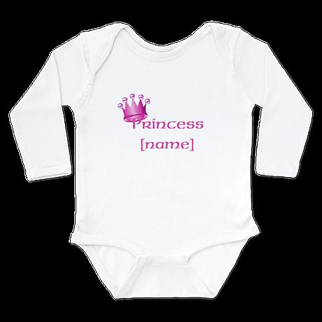 Personlized Princess Long Sleeve Infant Bodysuit