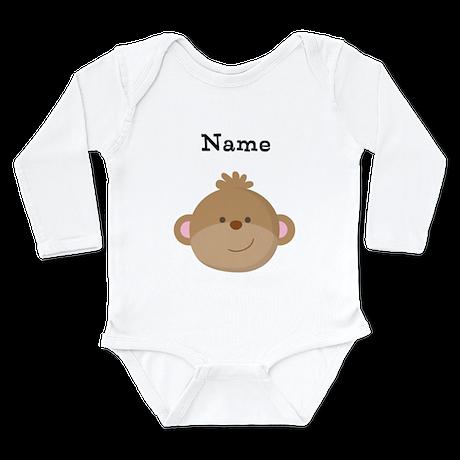 Personalized Monkey Long Sleeve Infant Bodysuit