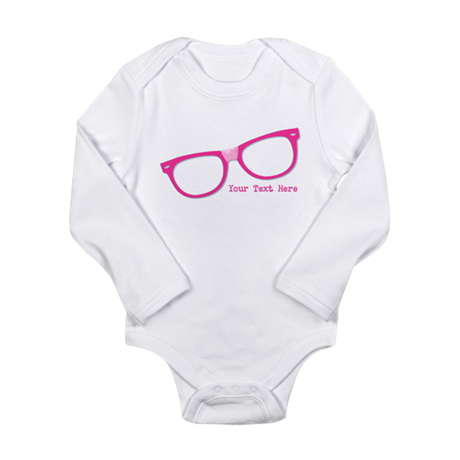 Pink Nerd Glasses Personalized Long Sleeve Infant