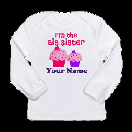 Big Sister Cupcake Custom Long Sleeve Infant T-Shi