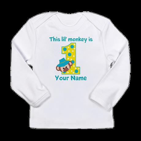 1st Birthday Monkey Boy Long Sleeve Infant T-Shirt