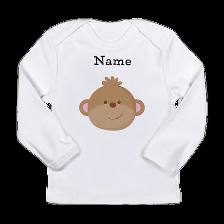 Personalized Monkey Long Sleeve Infant T-Shirt