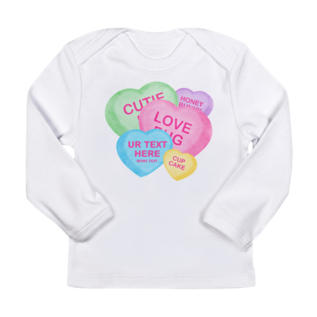 Fun Candy Hearts Personalized Long Sleeve Infant T
