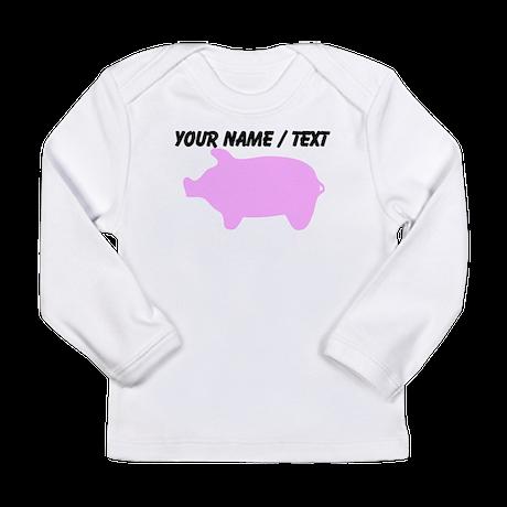 Custom Pink Piggy Silhouette Long Sleeve T-Shirt