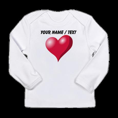 Custom Pink Heart Long Sleeve T-Shirt