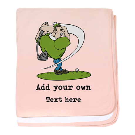 Golf Cartoon, Custom Text baby blanket