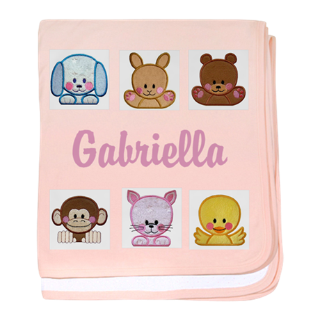 Personalised Sweet Round Animals Baby Girl Blanket