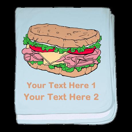 Sandwich. Custom Text. baby blanket