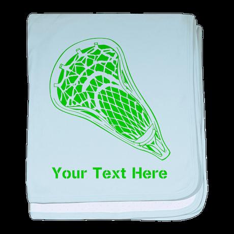 Lacrosse Crosse. Green Text. baby blanket