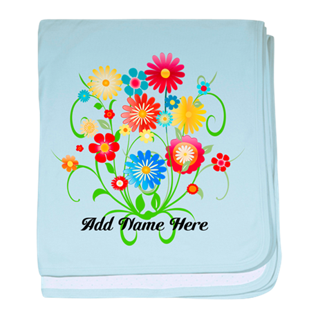 Personalized floral light baby blanket
