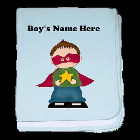 Personalized Super Hero Boy baby blanket