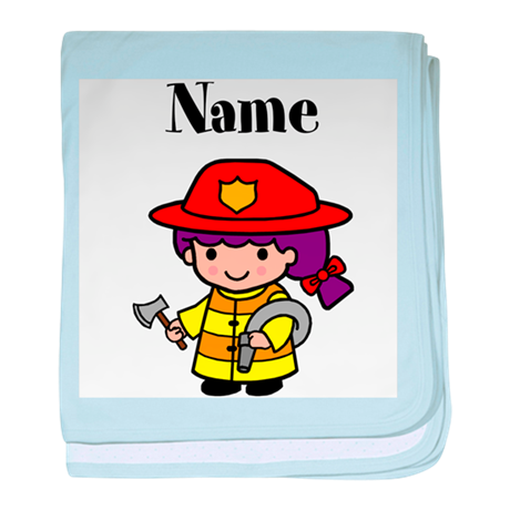 Personalized Girl Firefighter baby blanket