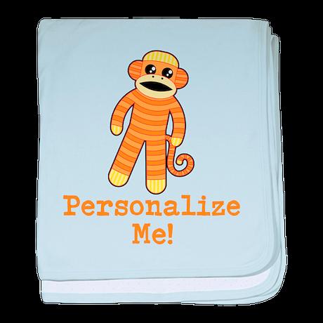 Orange Sock Monkey baby blanket