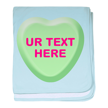 Lime Candy Heart Personalized baby blanket