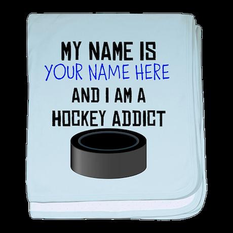 Custom Hockey Addict baby blanket