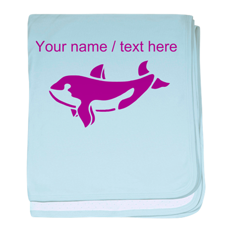 Personalized Purple Killer Whale baby blanket