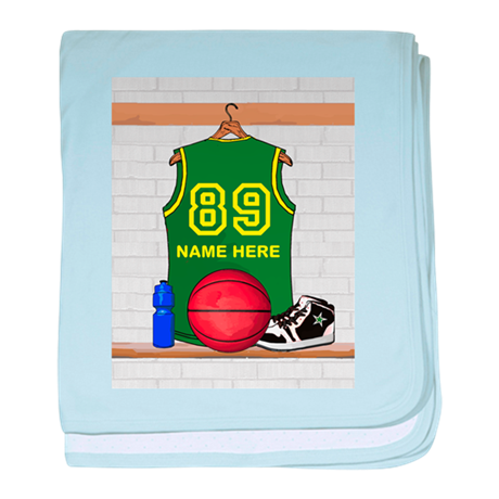 Personalized Basketball Green baby blanket