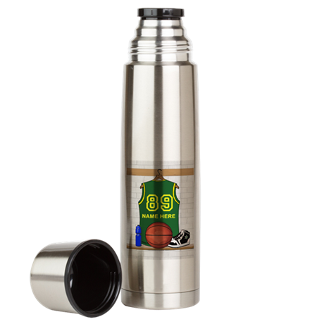 Personalized Basketball Green Large Thermos Bottle