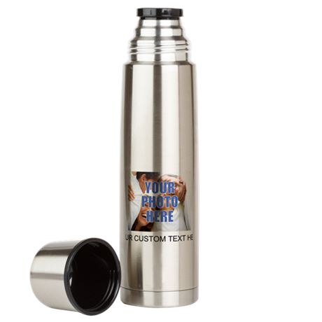 Custom Photo and Text Large Thermos Bottle