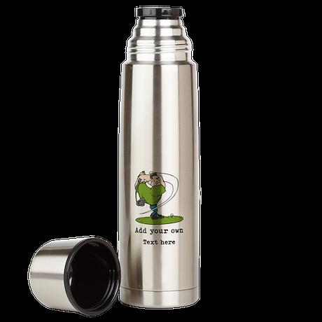 Golf Cartoon, Custom Text Large Thermos Bottle