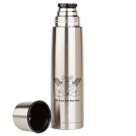 Flying Pig in Suit. Custom Text Large Thermos Bott