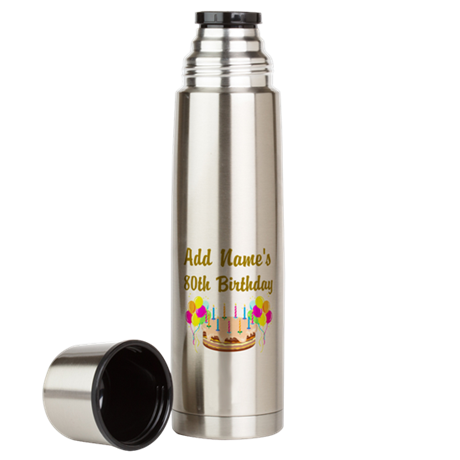 HAPPY 80TH BIRTHDAY Large Thermos Bottle
