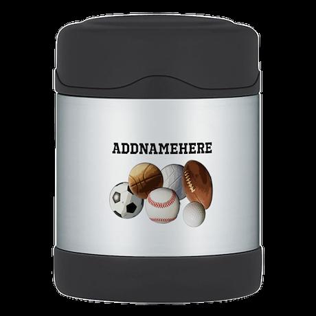 Sports Balls, Custom Name Thermos Food Jar