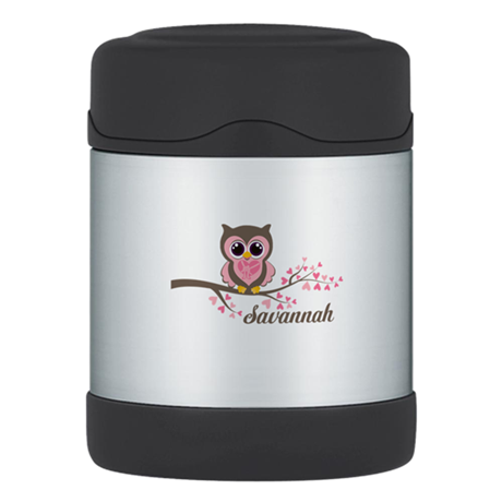 Custom Valentines Day owl Thermos Food Jar