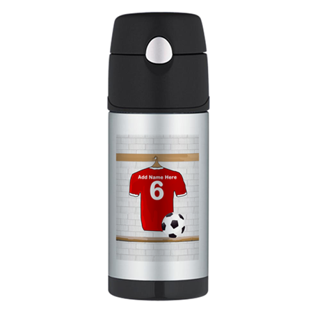Red Customizable Soccer footb Thermos Bottle (12oz