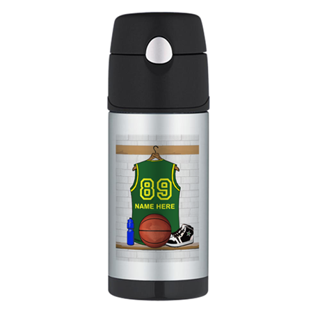 Personalized Basketball Green Thermos Bottle (12oz