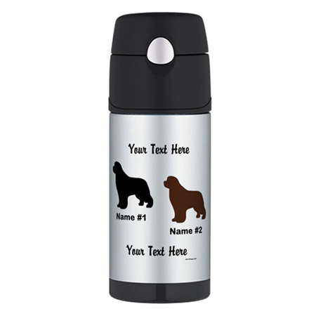 1 Black & 1 Brown Newf Thermos Bottle (12oz)