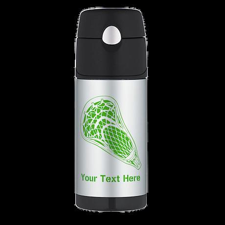 Lacrosse Crosse. Green Text. Thermos Bottle (12oz)