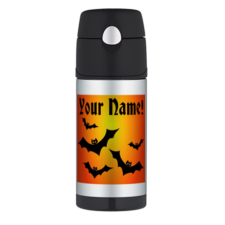Personalized Halloween Bats Thermos Bottle (12oz)