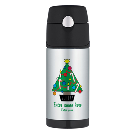 Personalized Christmas Tree Thermos Bottle (12oz)