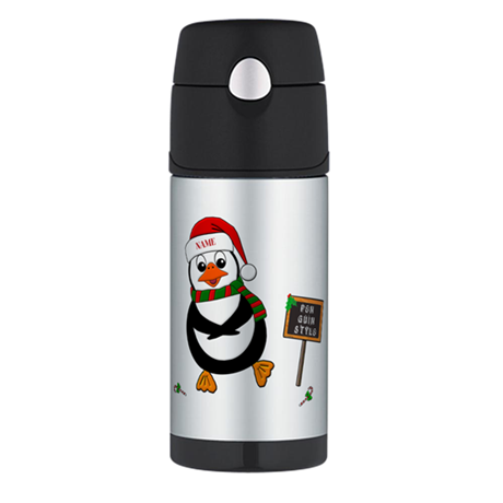 Add Name To Dancing Penguin Thermos Bottle (12oz)