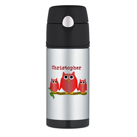 Red Owls Customize Thermos Bottle (12oz)