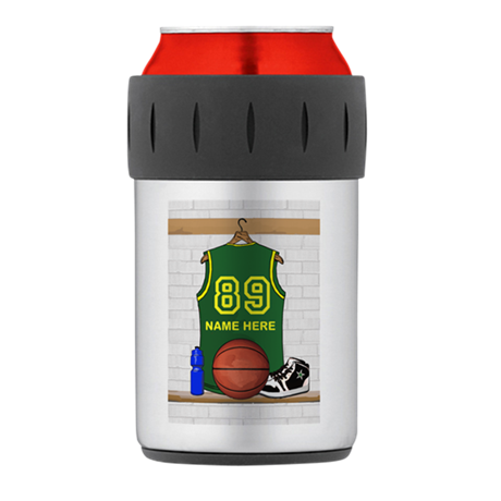 Personalized Basketball Green Thermos Can Cooler