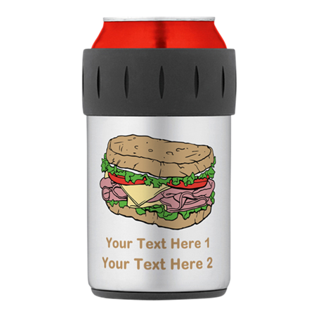 Sandwich. Custom Text. Thermos Can Cooler