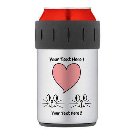 Cats and Love Heart. Text. Thermos® Can Cooler