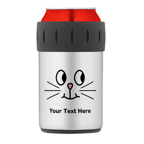 Cute Cat Face, Black Text. Thermos® Can Cooler